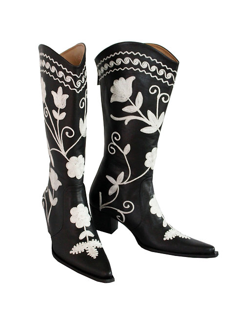 Black Leather White Embroidered - Cowboys