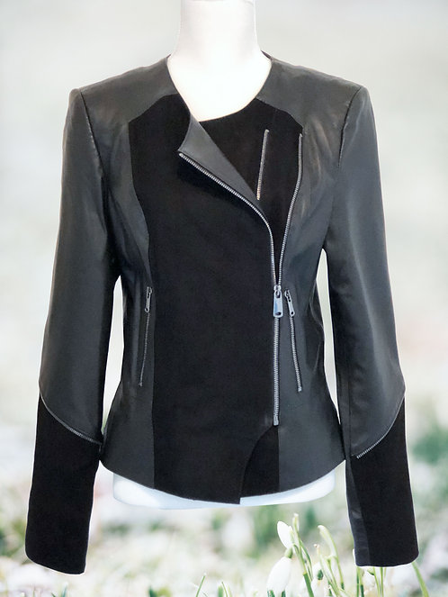 Leather Jacket with Suede - Black