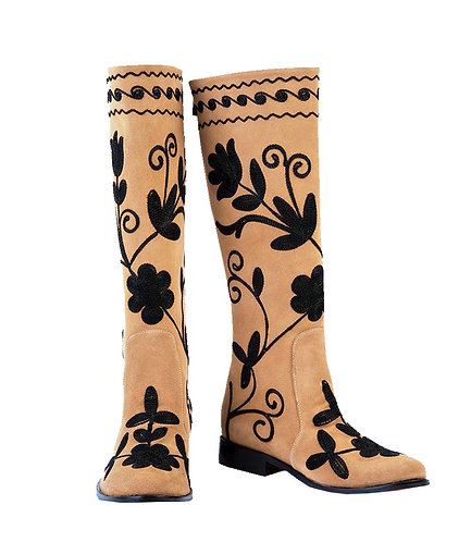 Mustard Tan Leather Black Embroidery - Riding