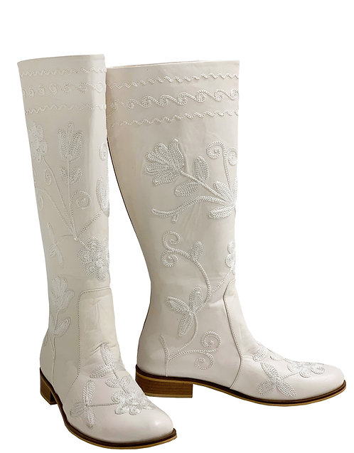 White Leather Embroidered - Riding
