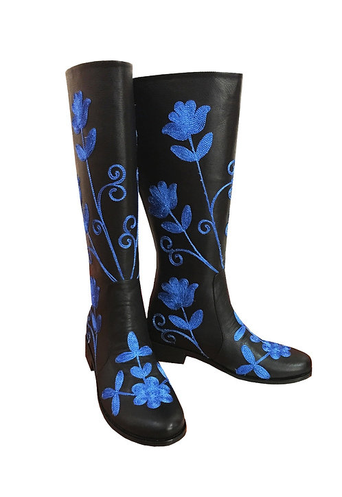 Black Leather Royal Blue Embroidered - Riding