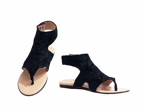 One of a Kind Black on Black Suzani - Gladiator Sandals