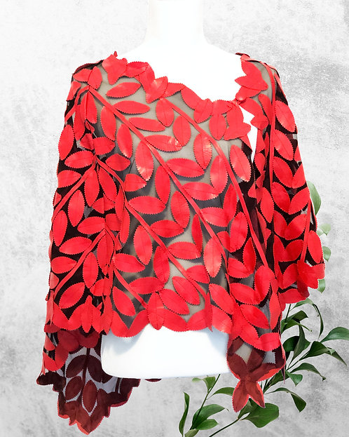 Leather Mesh Short Jackets - Red Shawl
