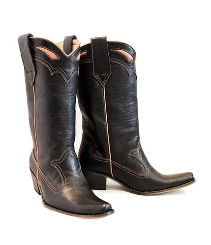 All Black Leather - Pull On Cowboys