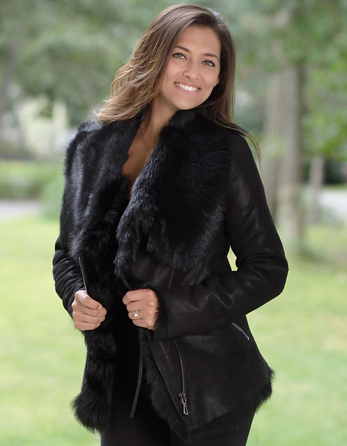 Toscana Fur Leather Jacket - Black