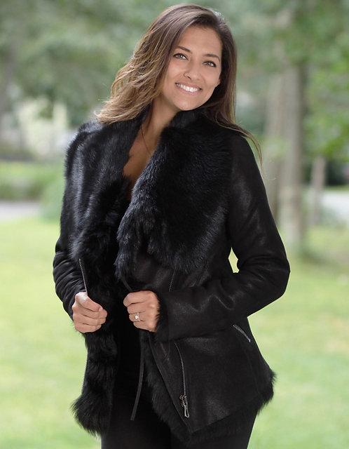 Toscana Fur Leather Jacket - Black