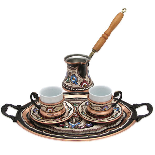 Turkish Coffee Set of 2 - Handetched Copper