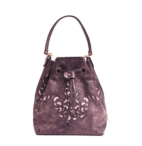 Plum Derby Waxed Leather Lasercut Handbag