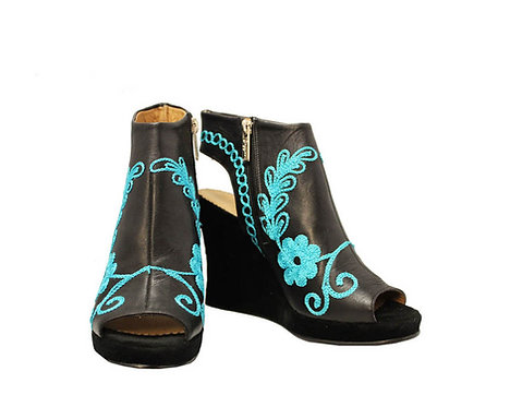 Black Leather Turquoise - Ankle Wedge