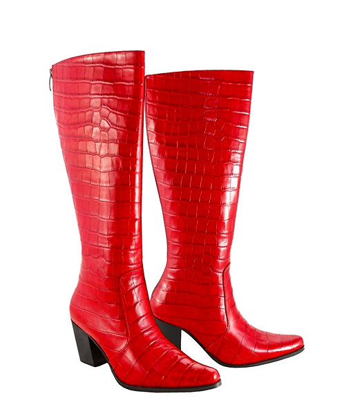 Red Croc Leather - Cuban
