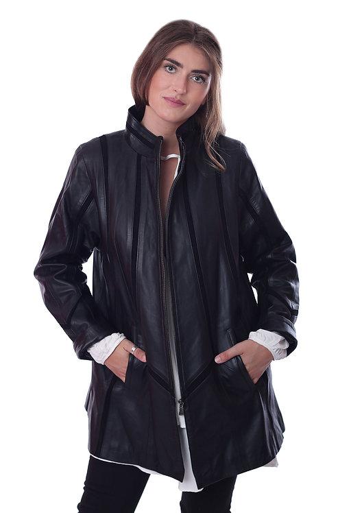 Leather Swing Coat - Black