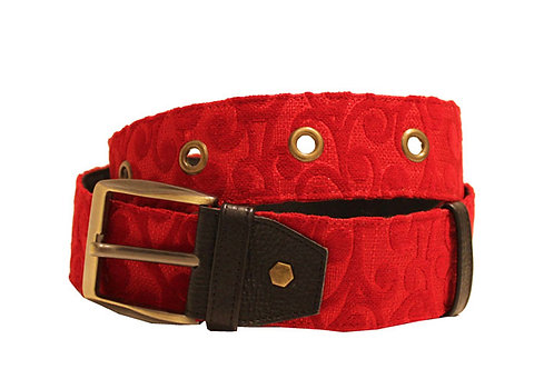 Textile Red Adjustable Jean Belt