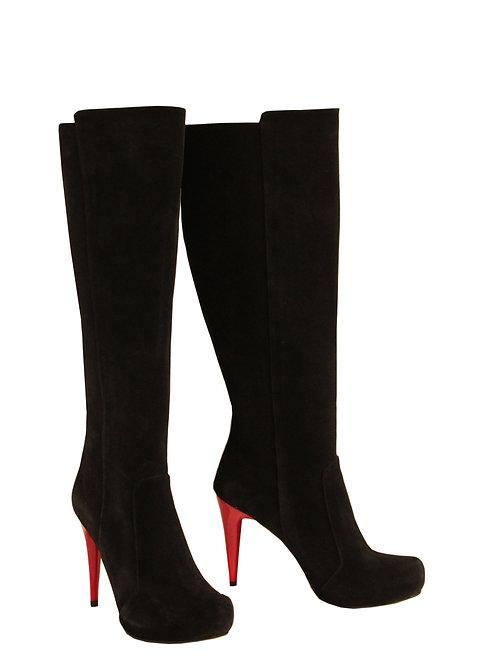 Black Suede Red Heel - Stiletto