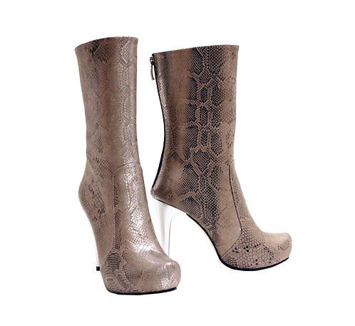 Silver Python Embossed Leather - MC Stiletto