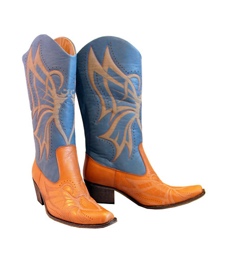 Jean Blue Tan Leather Laser Cut - Pull On Cowboys