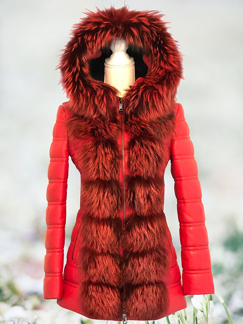Red Leather Parka Fox Removable Arms