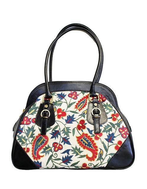 White Leather Red Blue White Handbag