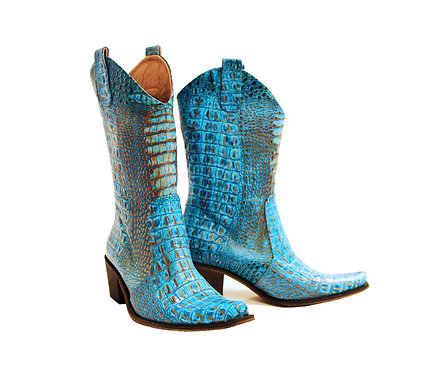 Turquoise Python Leather - Pull On Cowboys