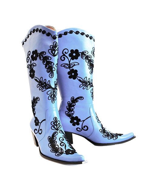 Blue Leather Embroidered - Cowboys