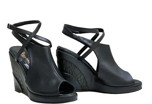 Soft Black Leather - Urban Wedge
