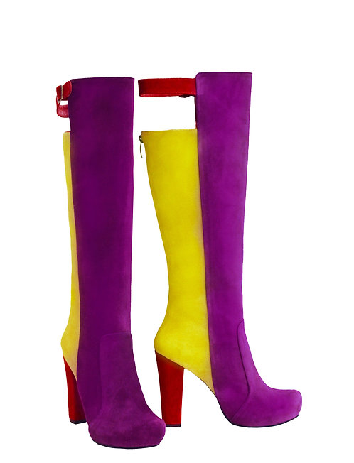 Purple Yellow Red Suede - Chunky