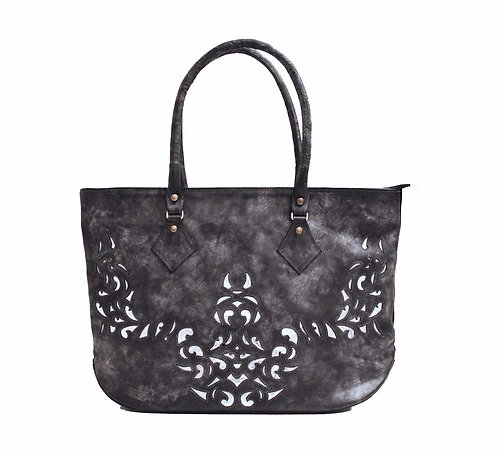 Black Derby Leather Lasercut Handbag