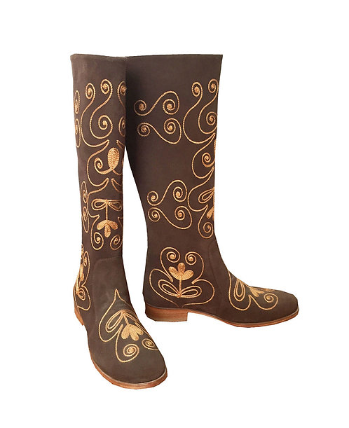 Brown Suede Tan Embroidery - Riding