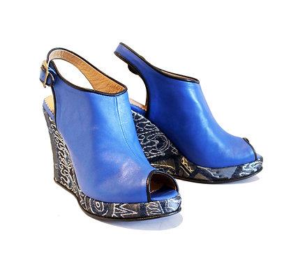 Blue Leather Zari - Ankle Wedge