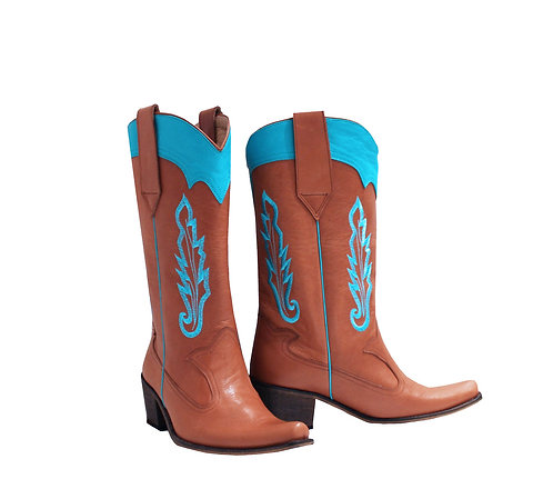 Tan and Turquoise Leather Embroidered - Pull On Cowboys