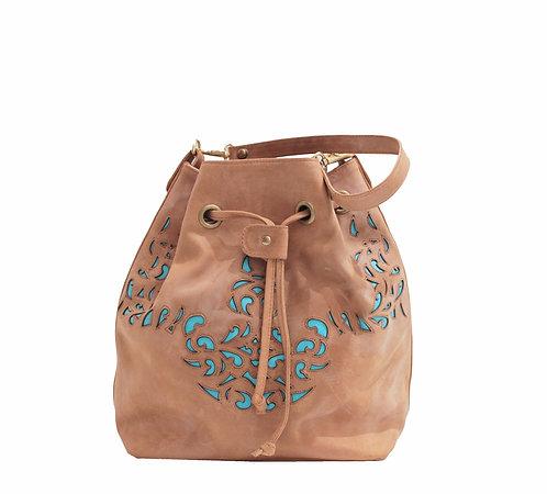 Derby Waxed Leather Lasercut Handbag