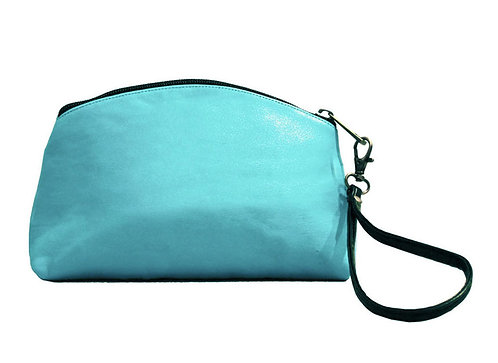 Leather Turquoise Clutch/Wristlet