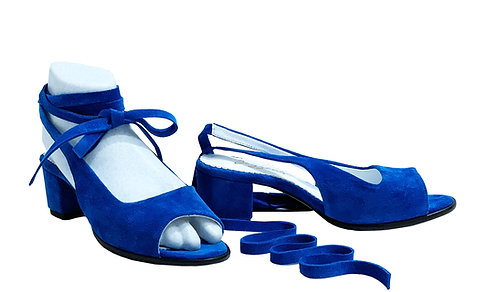 Royal Blue Suede Ballerina Strap - Slips