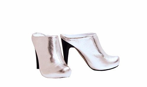 Silver Leather - Clogs Stiletto
