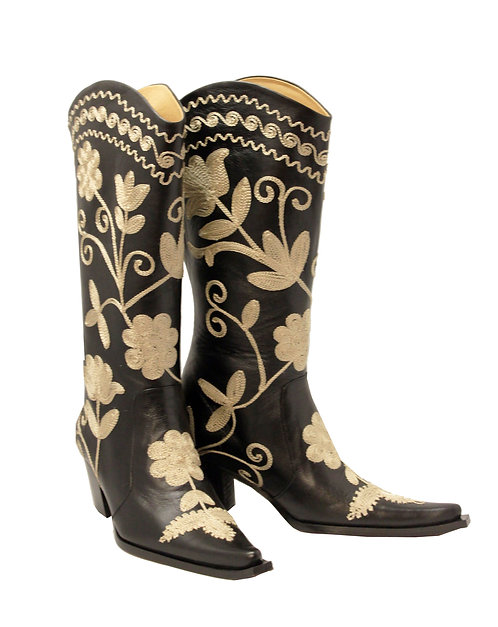 Black Leather Beige Embroidered - Cowboys