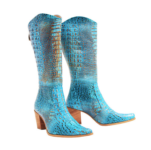 Turquoise Python Leather Natural Heel - Cowboys