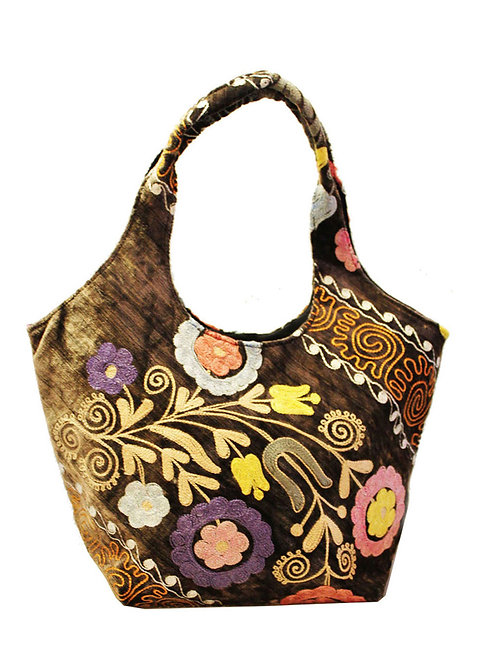 One of a kind Tan Suzani Handbag