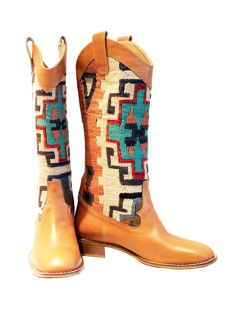 Kilim Tan Leather - Western Pull On Riding