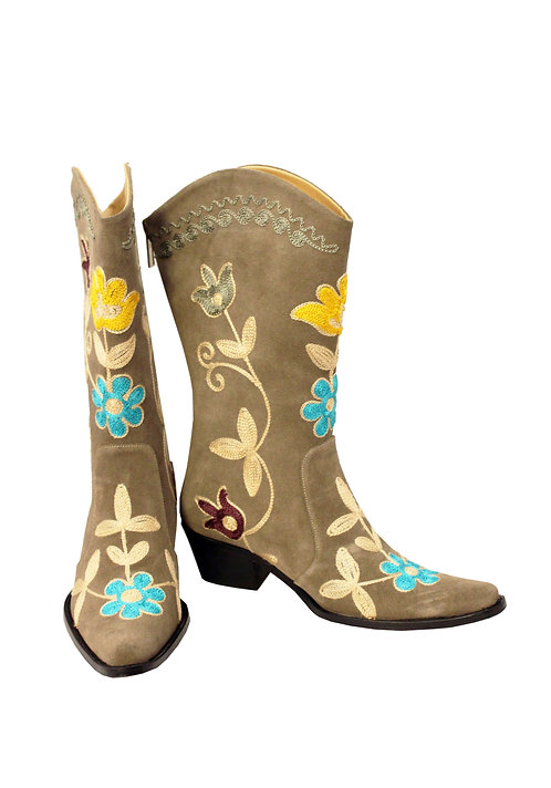 Tan Suede Embroidered - Pull On Cowboys