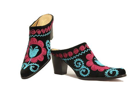 Suede Embroidered - Mules