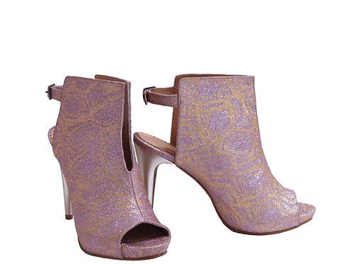 Pink Sparkle Peep Toe - ANK Stiletto