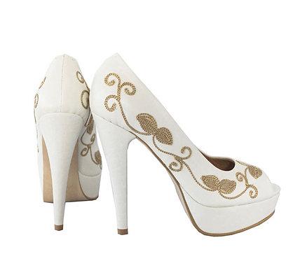 Cream Leather Embroidered - Stiletto Pumps