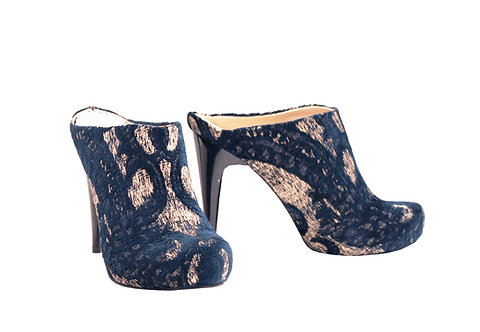 Rustic Navy Gold - Clogs Stiletto
