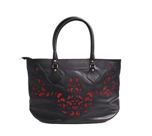 Black Leather Lasercut Red Handbag
