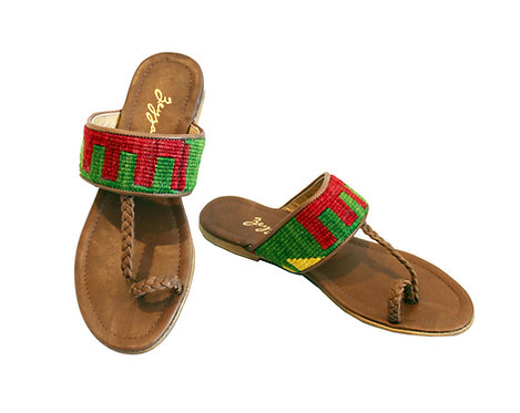 Kilim Brown Leather - Sandals