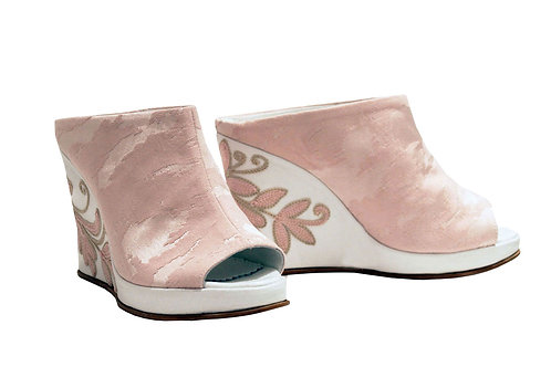 Pink Embroidered - Slip On Wedge