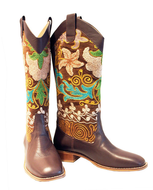 One of Kind Suzani Brown Leather - Western Pull On Riding
