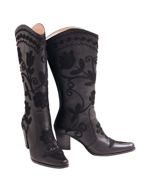 Black Leather Embroidery - Cowboys