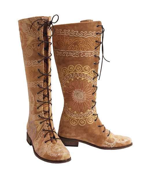 Tan One of a Kind Suzani Lace Up Front - Riding