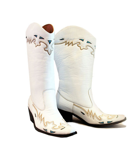 All White Leather - Pull On Cowboys
