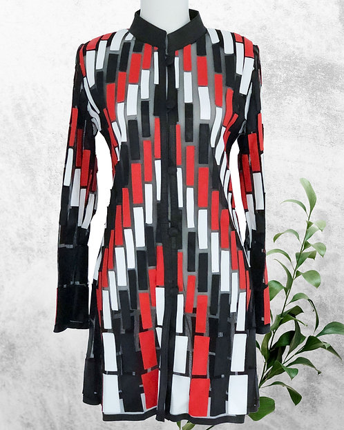 Leather Mesh Long Jacket -Black/Red/White Panel